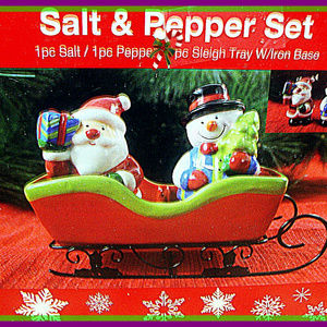 3PC Christmas Santa Claus & Snowman Salt & Pepper
